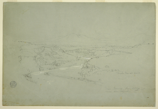 Drawing, Valley with a Winding Stream Cutting through a Mountain Plateau near Tacunga and San Miguel, Ecuador