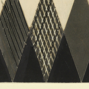 Row of small black triangles within large gray triangles; at center triangle contains a white rhomboid with text and two facing lions: HIGGINS' / VEGETABLE GLUE / VEGETABLE GLUE.