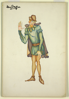 Drawing, Costume Design: Man with Green Tunic and Tan Tights, for Merry Wives of Windsor