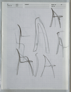 "Drawing, Multiple ""Unfolding"" chai, ca. 1982"