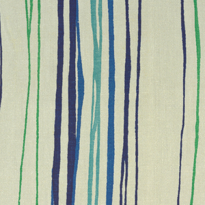 Two samples of printed linen with an vertical stripe of abstracted loom heddles; (a) is in shades of blue and green on a white ground, and (b) is  in shades of pink on an orange ground.