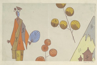Stylized elongated woman in orange kimono holding fan with floating orange and yellow peony branches and two tiny pavillons against mountain in distance on putty background.