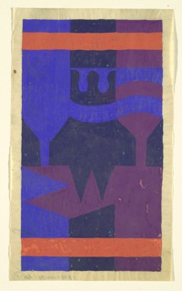 Vertical rectangle. Abstract design, two bands of red flanking areas of deep blue, cobalt blue, and purple.