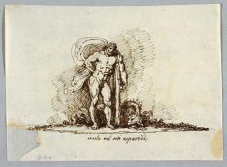 Hercules shown resting in pose of Hercules Farnese. Dead dragon lies behind him.