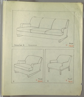 Drawing, Sofa and Armchair, Two Versions, 1930–1935