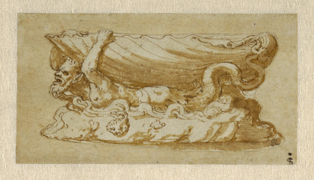 Design for a saltcellar with the bowl of the vessel in the shape of a shell supported on the back of a bearded triton who swims through waves.