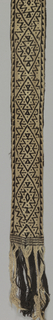 Belt with geometrical motifs and large diamond shapes. Tan on dark brown background. Warp ends are braided.