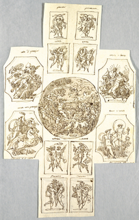 Angles in four octagons showing the history of Proserpina and Ceres; Eight folders with cupids recounting the symbols of the Seasons
