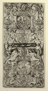 Vertical rectangle showing fully decorated sheet with many figures, including two nymphs with birds, a roundel showing the Judgment of Paris and another showing Apollo playing the violin.