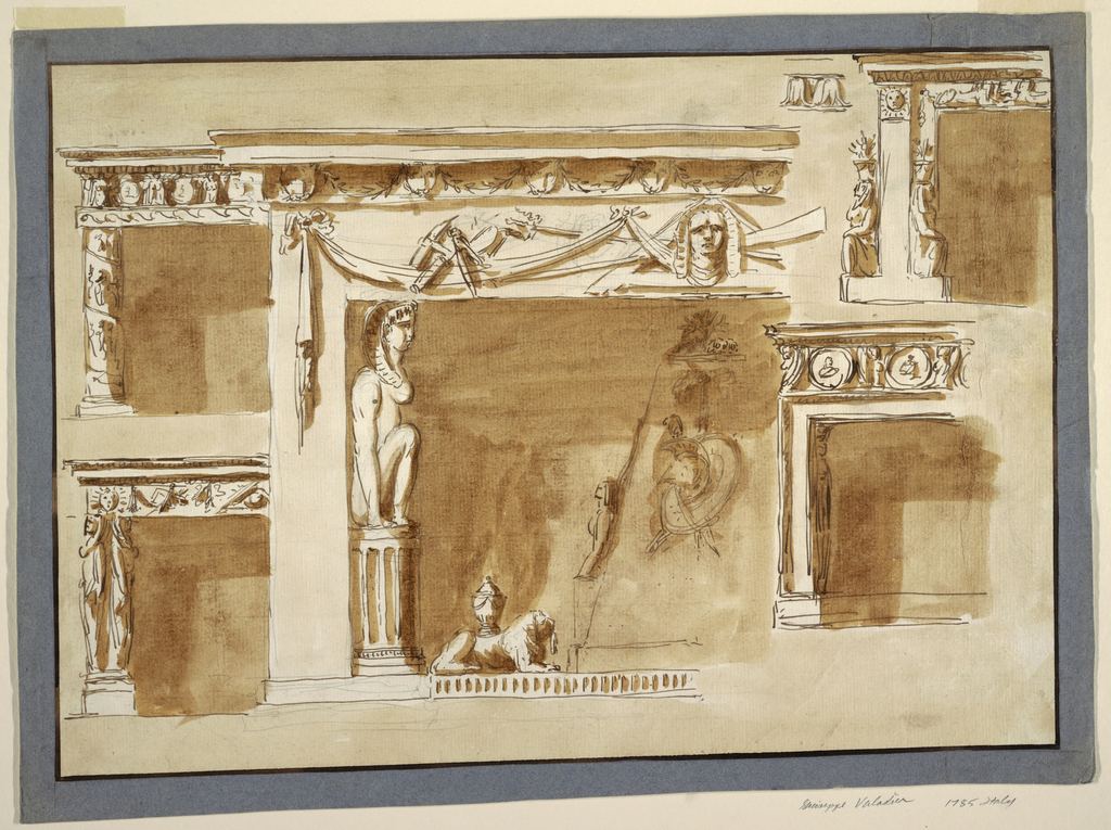 The left halves are shown. Left row: an entablature is supported by a column with a frieze and representations around it; it is without a capital. Below: the entablature is supported by two caryatids standing upon bases. Center: the opening is framed by stripes. The upper part is decorated with drapery festoons. In front, at left, a trophy of carpenter tools, in the center an Egyptian head, behind which are a carpenter's square, an oar and trident, crossed. Inside the opening, an Egyptian woman sits upon a fluted column, in front of the left wall, in profile. Below is a dado with a crouching lion, with an urn on its back. Sketched inside the opening is the left side of a couped obelisk with the forepart of a sphinx, shown in profile, laterally. At the front a trophy of arms. Right row: the entablature is supported by a pilaster strip, with the sun above. Beside it are two female figures with flower pots upon their heads. Beside, at left, a sketch for the decoration of the molding. Below, the lower part has the shape of a molded frame, with a caryatid standing inside. Above is an entablature with a frieze in which sphinxes support circular medallions. Colored background.