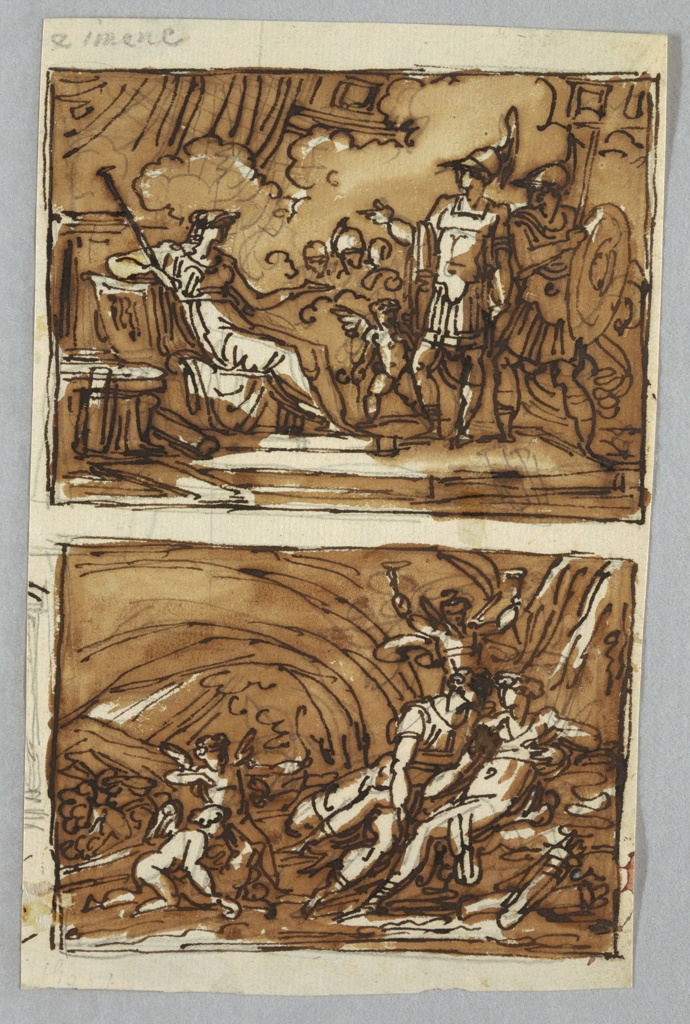 Drawing, Aeneas and Achates before Dido; the Love of Aeneas and Dido