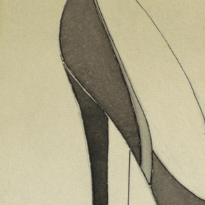 Image of high-heeled shoe; lower right, back of shoe.