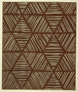 Design for textile with all-over repeat triangle pattern. Brown ground over which a series of triangles comprised of gray stripes are positioned in hegagonal/snowflake configuration. Triangles delineated by negative space.