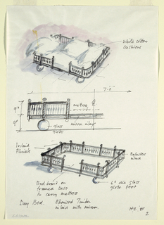 Drawing, Day Bed Design, 1985