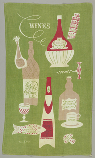 "Bottles of wine, fish, a mushroom, a corkscrew, and the Leaning Tower of Pisa,   with labels reading: ""Italian Food"", ""With Italian Wine"", ""Red Wine"","" With Fish and White Meats"", ""White Wine"", ""Brandy Port Liqueurs"", 
