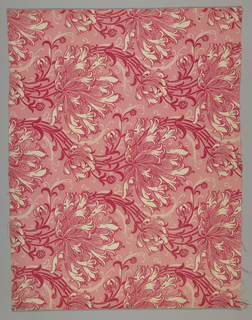 William Morris inspired pattern of large-scale honeysuckle clusters in a wavy upward motion, in red, pink, and white.