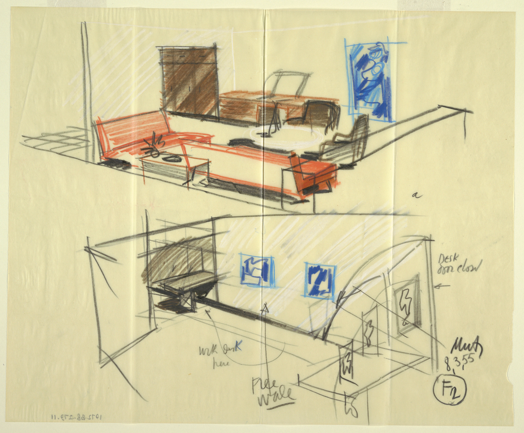 Drawing, Rough sketch, room: F2, for Uris Hotels