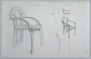 Drawing, Four chair sketches, incl, ca. 1982