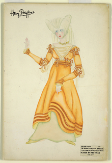 Drawing, Costume Design: Mistress Pagen, for The Merry Wives of Windsor