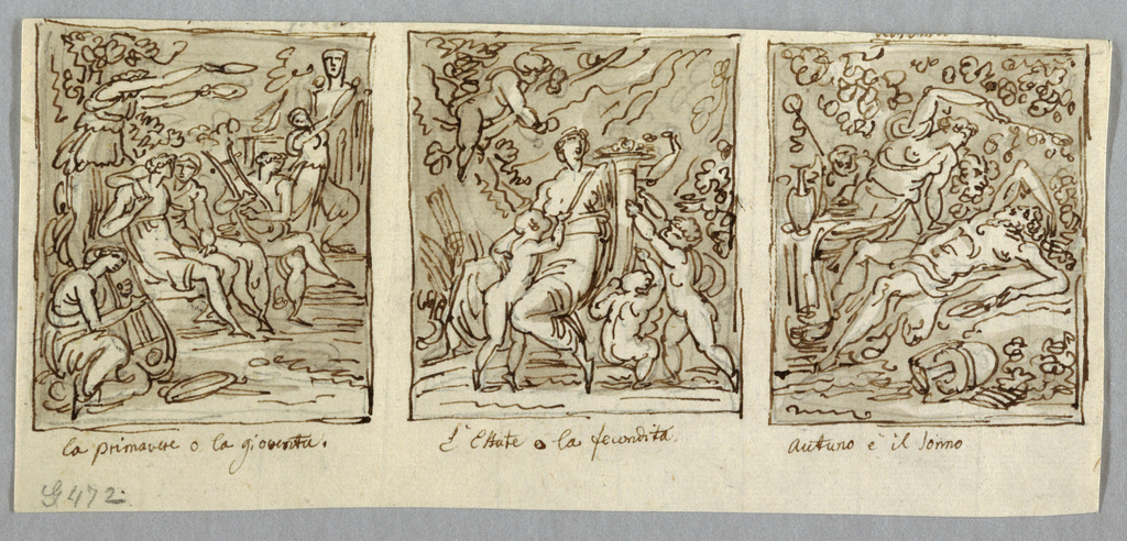 Loving couple seated between two players of lyres. Woman holds two wreaths over it. Diagonal composition. Girl shown in indistinct action before hermae. At center, seated woman receives filled cornucopia from two children. Another child suckles her right breast. Fourth watches happenings from tree. At right, Silenus lies sleeping upon his back, surrounded by drinking vessels and jars. Girl leans over him, Satyr and another man watching.