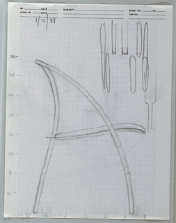 "Drawing, Large ""Unfolding chair sk, ca. 1982"