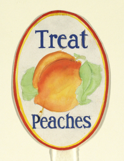 Product label, oval shape with peach inside and black lettering.