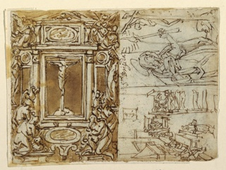 "Vertical rectangle. Reverse: A) Oblique view of a pedestal with an equestrian monument. Behind the horse stands a naked boy carrying a small sword in his left hand and a dead child upon his right shoulder. Caption: ""Antonio/ un pidestalle con Sntonio filosofa padre e comodo/ figlilo nudo con spada in mano uno bambino in spala/ morte."" B) At top, horizontally, the Crucifix is shown in the central part of an eleborate frame, beside the pediment of which fly angels. At left stands Eve, a naked woman, at right, a morning woman, Mary, or the Church. The Apostles with their attributes kneel in pairs, below, at left and at right. C) A bird's-eye view. The beds stand at the right long wall, one of them beside the door along the back wall whose occupant has visitors. Some patients sit near a fireplace. a male attendant carries a bowl. D) Bottom right, Saint Bridget stands before a Crucifix erected at right, holding a lighted candle. Caption above, at left: ""Sta. Brigida."""