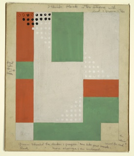 Drawing, Design for Hooked Rug with Geometric Pattern