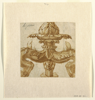 Cropped image of a candelabrum with three legs topped with an unopened floral motif.