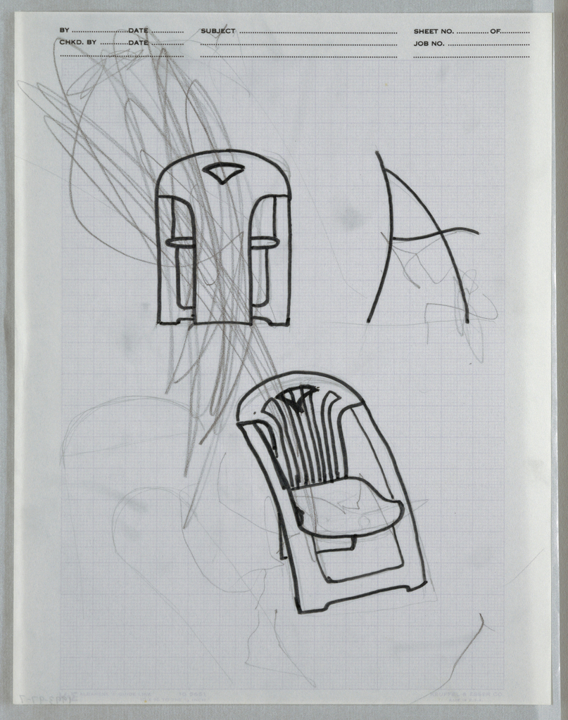 Drawing, Multiple chair sketches f, ca. 1982