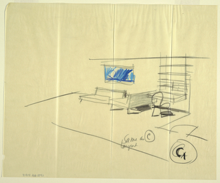 Sketch of interior of room with some furniture.