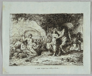At left, sea with Thetis and her companions. At right, Chiron and lad in grotto.
