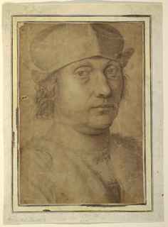 Portrait bust of a man wearing a cap and fur-trimmed coat. Framing lines.