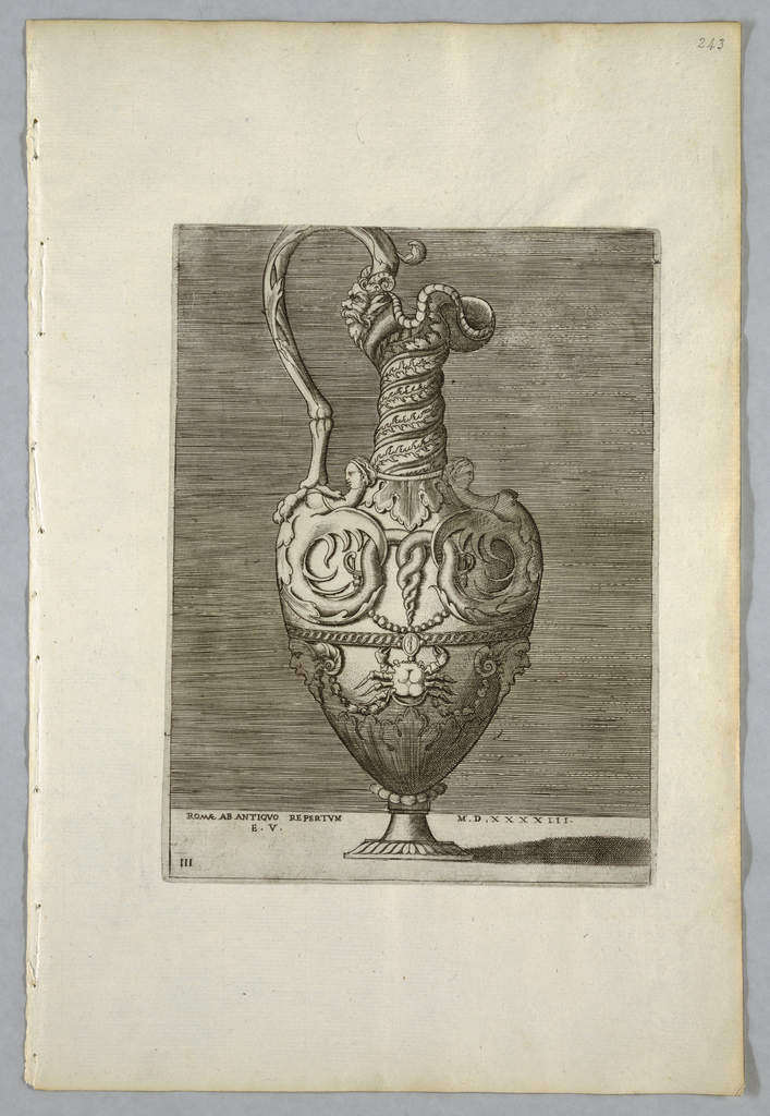 """Vertical rectangle. Ewer, with handle composed of a bird's leg, and spiral neck ending in a mascaron. Half-figures and a crab decorate the body. Inscribed below: """"ROMAE AB ANTIQVO REPERTVM MD XXXXIII"""" and """"A.E.V."""" on a tablet."""