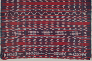 Blue and white dyed weft alternate with bands of solid red weft on a red warp.