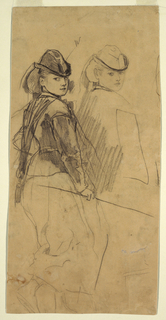 Recto:  Two horizontal half-length sketches of a young girl in a riding habit [with indications of a side-saddle position]. Verso:  Horizontal view across a drill ground, with log house and tents in foreground.