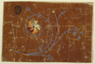 A bough with leaves, a blossom at the end of a spiral; three discs similar to those in 1909-13-77, probably buds.