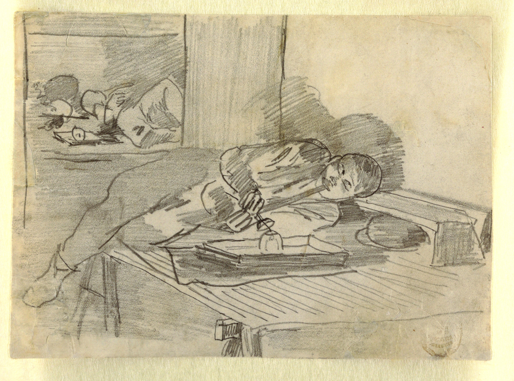 Horizontal view of a Chinese man lying on a table supported by trestles and smoking an opium pipe; another prone figure is visible in background.