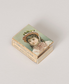 """(A) Plain rectangular box. (B) Match-box type cover with lithograph of little girl on one side; on three others imprint: """"Chocolate Tablets, Manufactured by Stephn F. Whitman & Son, Philadelphia."""""""