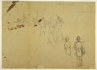 Horizontal view a series of single soldiers, with more detailed sketches of the two soldiers at right.