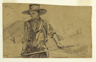 Horizontal view of a young man with a pitchfork.