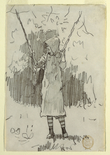 Vertical view of a girl in a sunbonnet, standing, and grasping the ropes of a swing, while leaning on the seat of the swing, with indication of trees in the background.