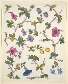 Intertwining pattern of pink, purple and blue flowers on purple leaf stems.  Graphite lined border on white ground.