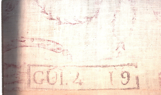 End of a length of cloth with a factory stamp and a little of the pattern visible. The pattern shows a woman being carried off by two men and a shaped area of shaded red.
