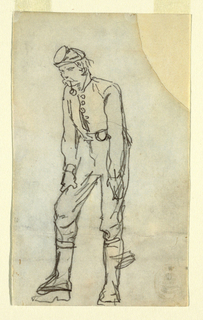 Recto: Vertical view of a soldier, with a pipe in his mouth, bending forward and stooping slightly, with his hands on his thighs.