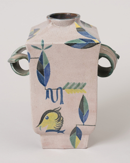 rectangular section vase with applied scroll handles, rising to a circular opening, the slightly pinkish cream-grey glaze with stylized decoration in blue, green and yellow of leaves, towers, swag-draped swings