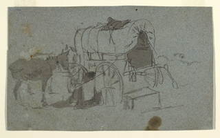 Horizontal view of a halted army wagon to which a mule is tethered.