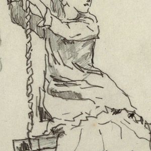 Vertical view of a girl seated on a swing, hung from the branch of a tree, looking to her left and holding with both hands the rope on her right.