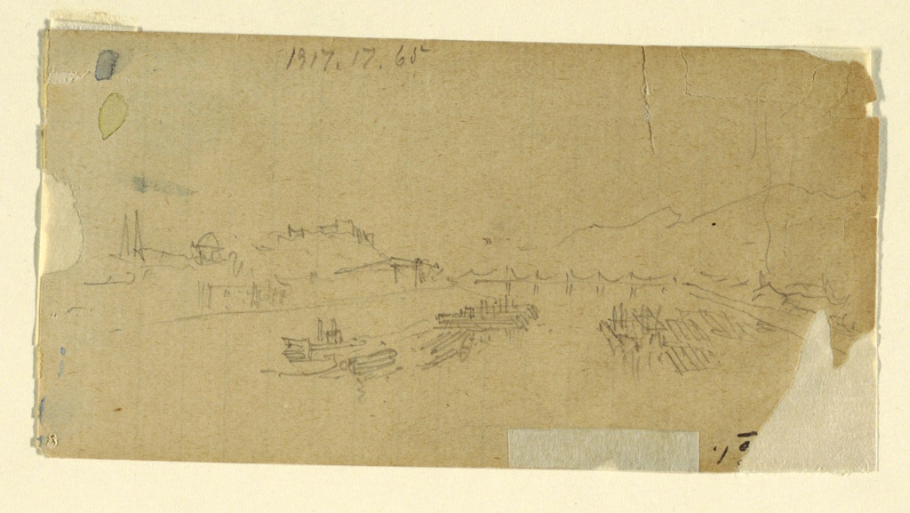 Recto: Horizontal view of Teton range seen from the plain. Verso in opposite direction: Moutainous country with a bridge crossing the river in the backgournd and a town lying on left bank.