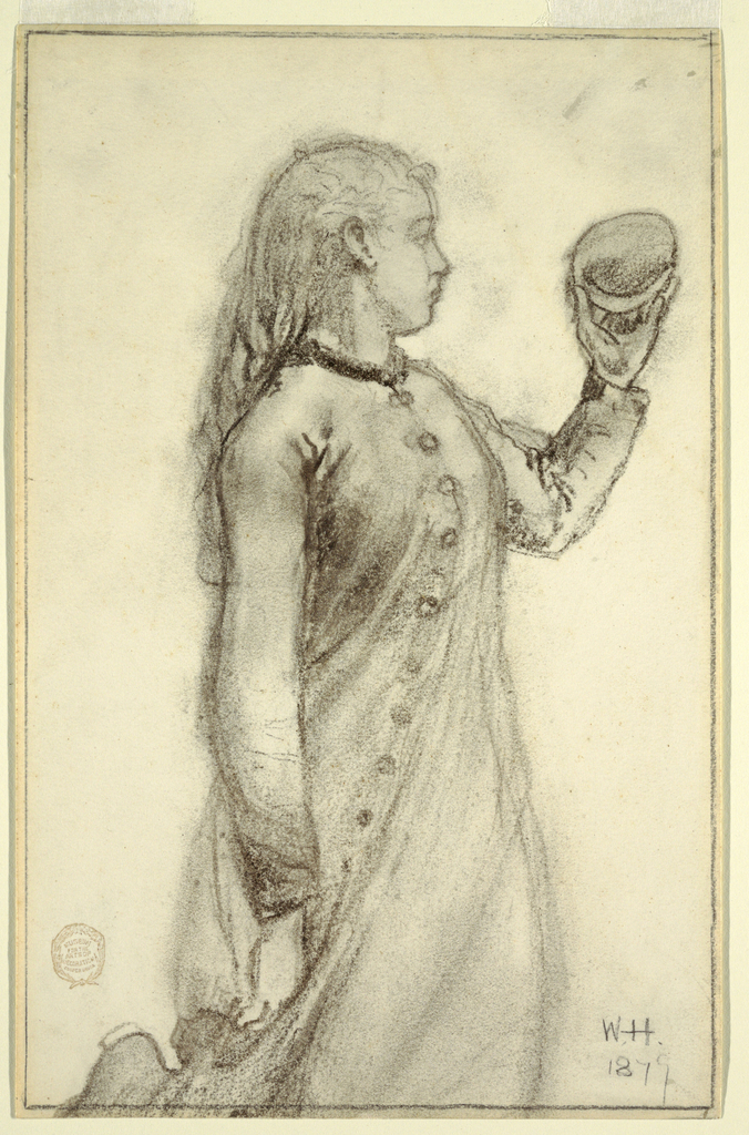 Vertical view of a girl, shown in right profile, holding up a shell